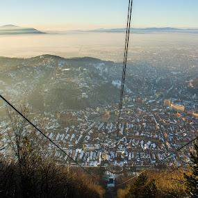 Brasov from top by Matei Edu - City,  Street & Park  Skylines ( mountains, skyline, winter, oldtown, peak, sunset, buildings, romania, brasov,  )