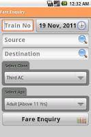 Screenshot of Indian Rail Info App