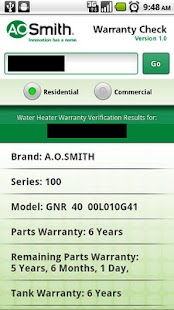 A.O. Smith Warranty Check - screenshot thumbnail
