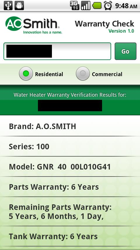 A.O. Smith Warranty Check - screenshot