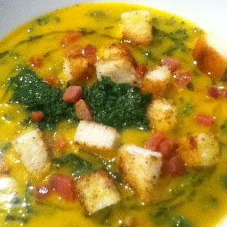 Saffron Kale Soup with Parsley Fennel Pistou, Crispy Pancetta and Croutons