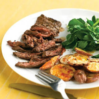Skirt Steak with Crispy Garlic Potatoes.
