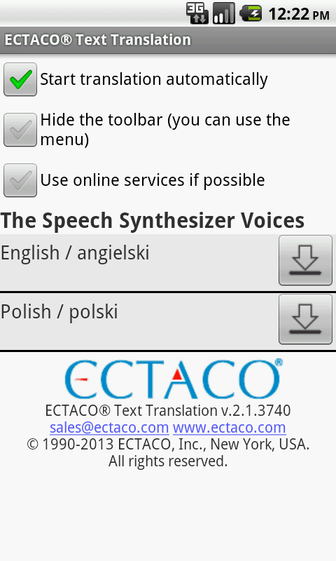 Polish Offline Translator - screenshot