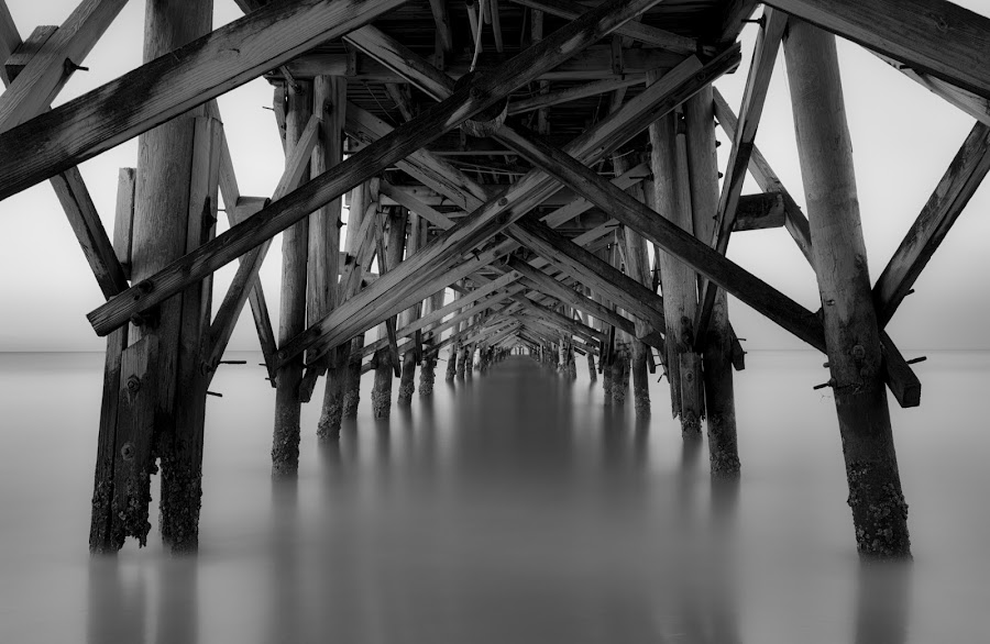Long Pier at Redington Beach by Bill Kuhn - Black & White Buildings & Architecture ( black & white, b&w, pier, sunrise, florida, wooden, beach, gulf, redington, supports, long exposure, long )