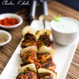 Grilled Spicy Tomato Chicken Kebab Recipe with Yogurt Mint Sauce