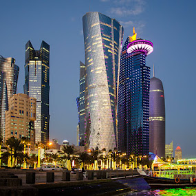 Blue Hours - Doha by Fitria Ramli - Buildings & Architecture Office Buildings & Hotels ( office, water, skyline, blue hours, boat, city, hotels, lights, blue, buildings, streets, town, landscapes )