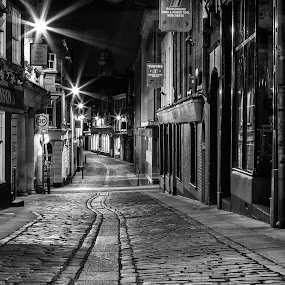 Norwich by NIght by Dave Angood - Black & White Buildings & Architecture ( lights, cobbles, norwich, street, buildings, night, city,  )