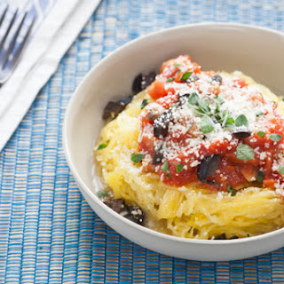 Roasted Spaghetti Squash with Chunky Marinara Sauce & Black Cerignola Olives