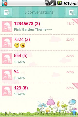 Easy SMS Pink Garden Theme - screenshot