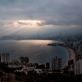 Benidorm sunlight by Ruth Holt - Novices Only Landscapes ( clouds, benidorm, benidorm cross, view, sunlight )