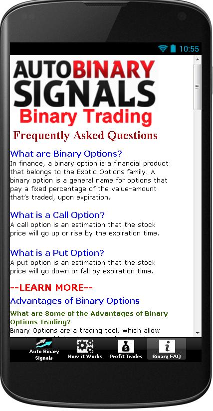 Auto binary trading signals
