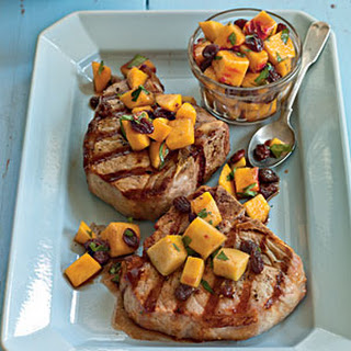 Grilled Pork Porterhouse with Peach Agrodolce.