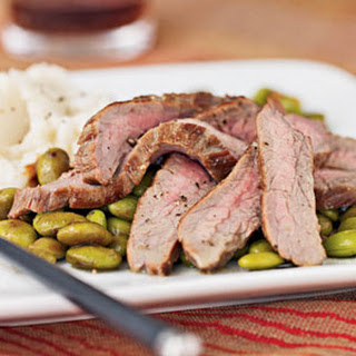 Flank Steak and Edamame with Wasabi Dressing.
