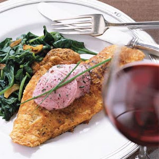 Sautéed Snapper on Wilted Spinach with Mulled Zinfandel Butter.
