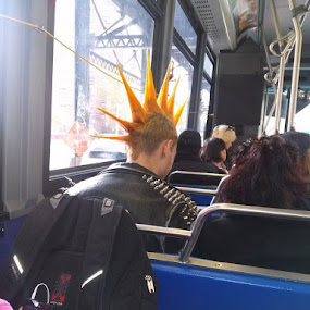 Punker On Bus by Angela Theresa Egic - Instagram & Mobile Android ( punk rocker, bus, 2013, bronx, nyc,  )