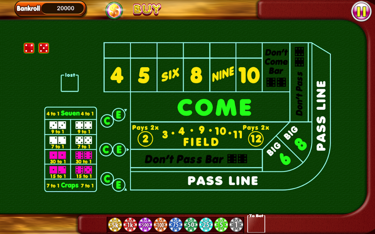casino free craps table game