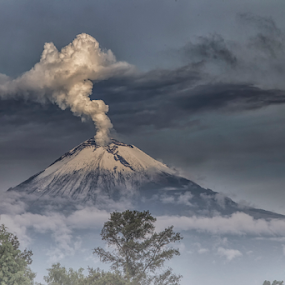 Smoking and Foggy volcano by Cristobal Garciaferro Rubio - Landscapes Mountains & Hills ( cholula, fog, mexico, popocatepetl, puwbla, snowy volcano, smoking volcano )