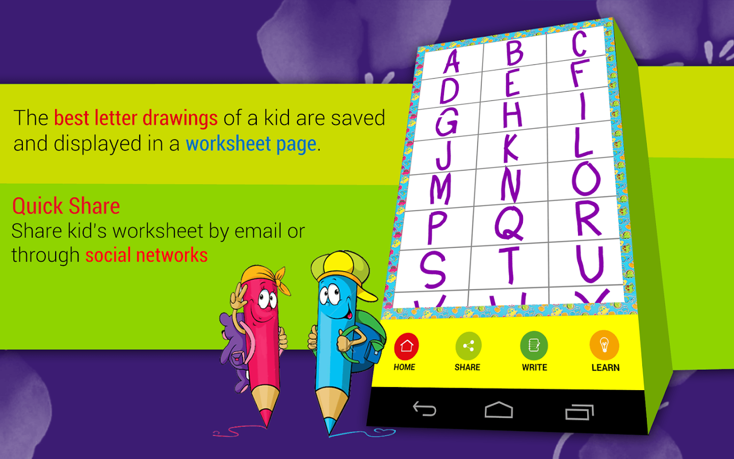 kids abc letter writing school screenshot