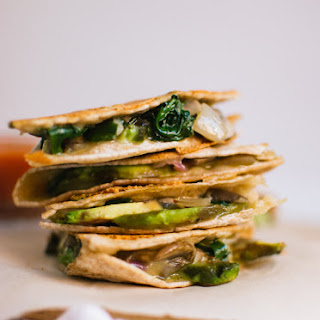 Crispy Mushroom, Spinach and Avocado Quesadillas.