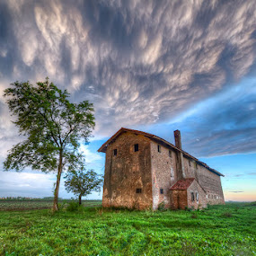 Musile Di Piave - Old House - Blustery Sky by Fa Ve - Landscapes Cloud Formations ( old house, blustery sky, tree, grass, veneto, musile di piave, italy )