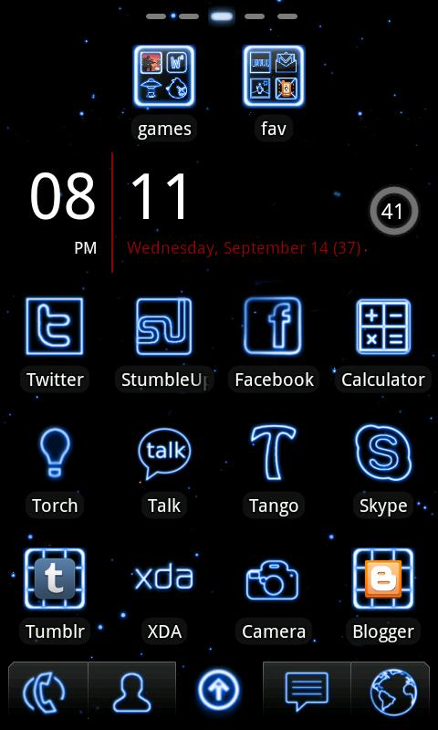 Neon Blue GO Launcher Theme- screenshot