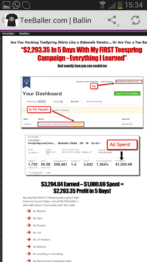 Make money with Teespring - screenshot