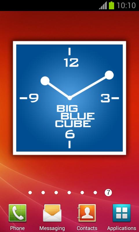 Blue Square Clock + alarm - screenshot