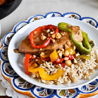 Skillet Chicken with Peppers and Peanuts.