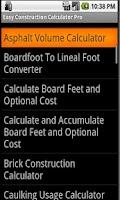 Screenshot of Easy Construction Calculator