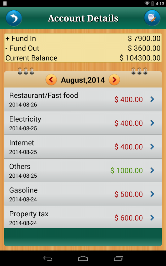 Home Budget Manager - Android- screenshot