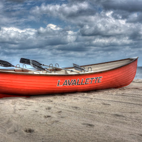 Lavallette Life Boat by Ward Vogt - Transportation Boats ( water, clouds, orange, sand, life boat, ocean, beach, boat, lavalette, photography, new jersey, nj, brooklyn, ward vogt )