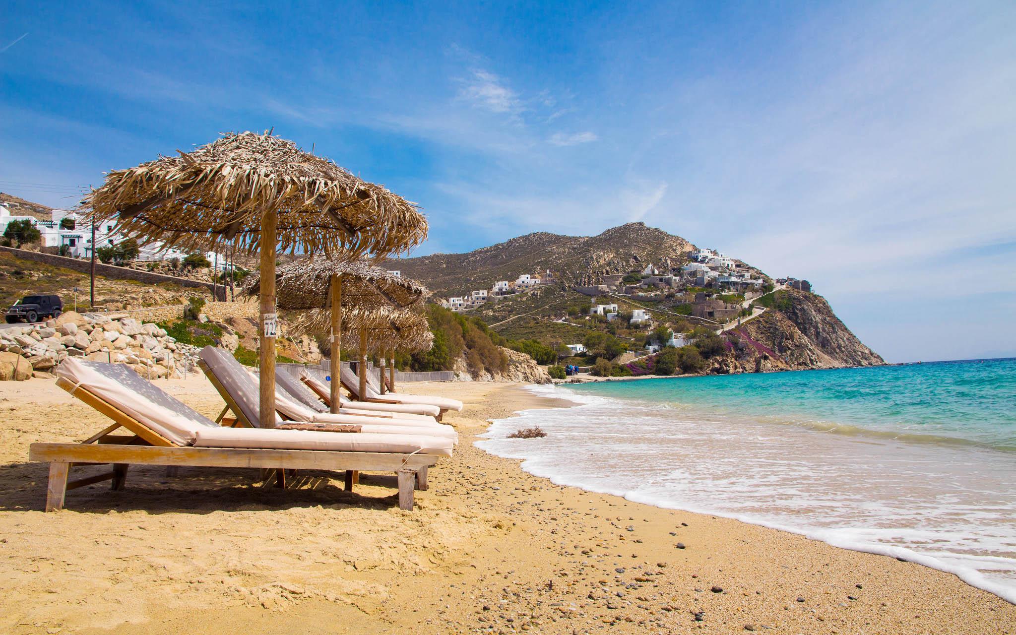 Elia Beach on Mykonos, Greece.