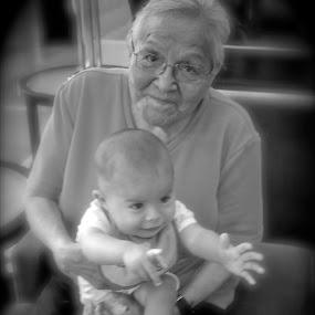Generations by Dawnadine Yazzie-Harvey - Black & White Portraits & People ( oldwoman, navajo, love, family, happy, baby, grandma )