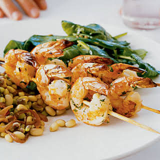 Herb Grilled Shrimp and Wilted Spinach with Fennel.