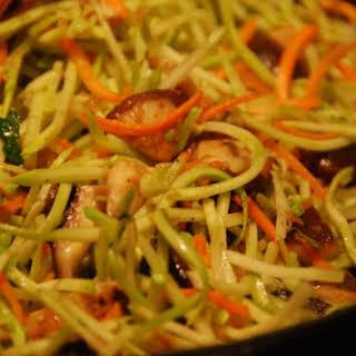 Stir-Fried Shiitake and Broccoli Slaw.