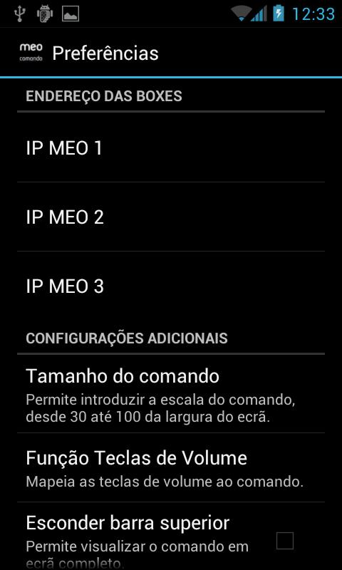 Comando MEO - screenshot