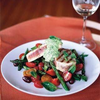 warme tonijnsalade met Honingtomaten, crè.
