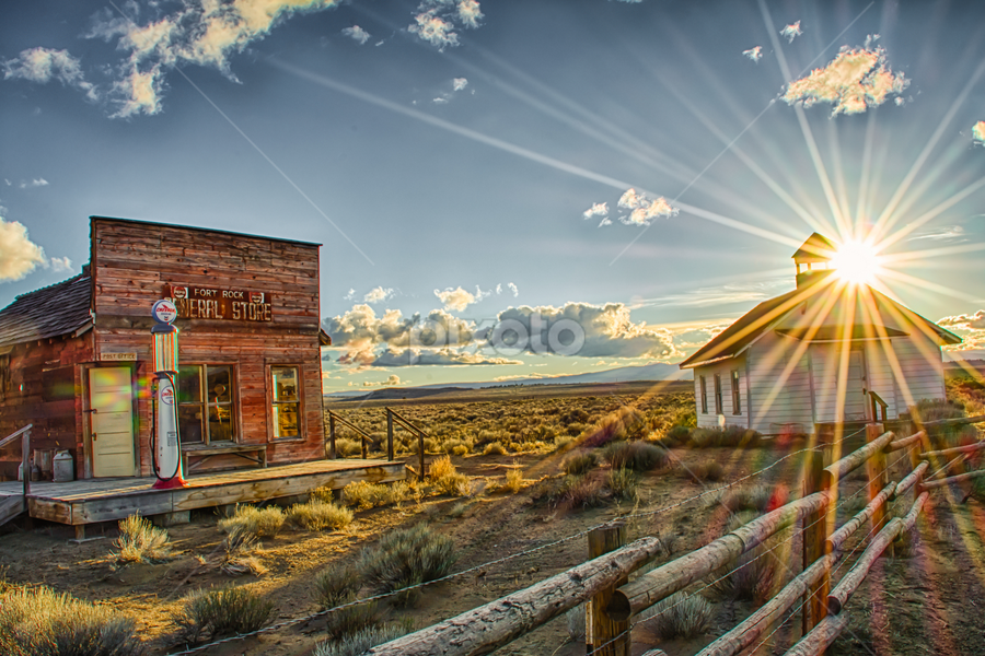 by Trisha Payne - Buildings & Architecture Decaying & Abandoned ( schoolhouse, desert, fort rock, general store, eastern oregon,  )