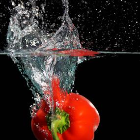 Paprika by Veronika Gallova - Food & Drink Fruits & Vegetables ( #splash, #paprika splash, #paprika, , Food & Beverage, meal, Eat & Drink )