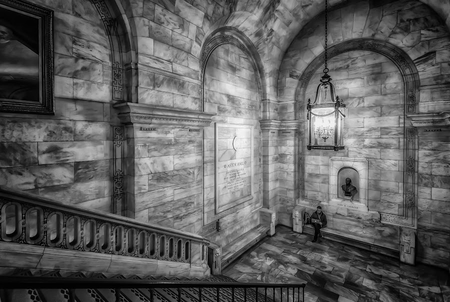 Solitary Moment by Linda Karlin - Buildings & Architecture Architectural Detail ( b&w, library, architecture, nyc,  )
