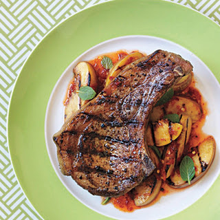 Grilled Pork Chops with Spicy Peaches and Mint Recipe