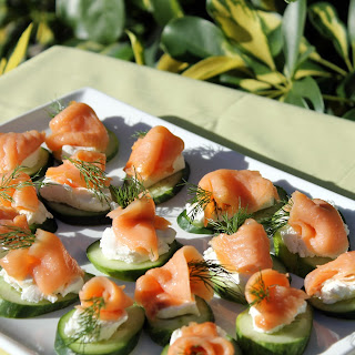 Smoked Salmon and Cucumber Canapés.