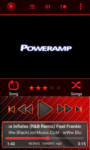 Poweramp Skin Red Neon