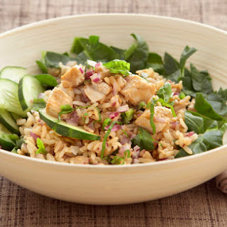 Thai Salad with Whole Grain Brown Rice and Chicken.