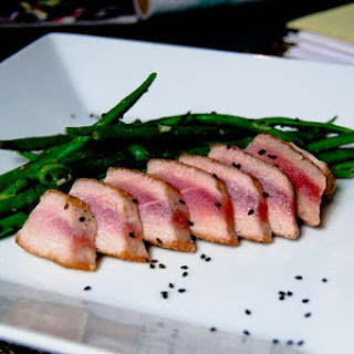 Seared Yellowfin Tuna with Haricot Verts.