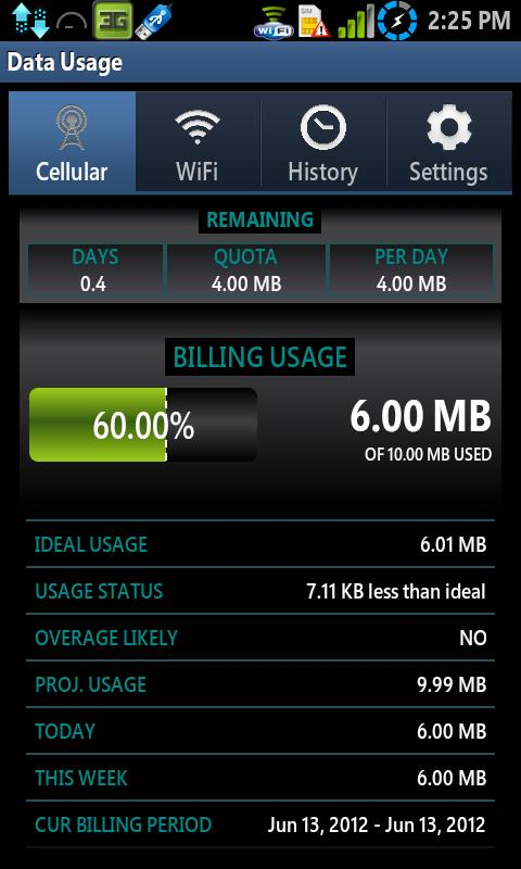 Data Usage- screenshot