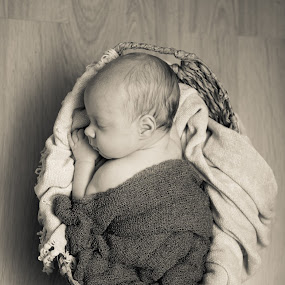 L by Kelly Maize - Babies & Children Babies ( newborn photography, monochrome, black and white, basket, baby, infants, newborn )
