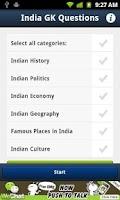 Screenshot of India GK  Questions