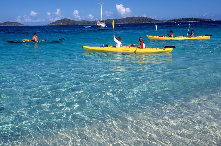 Kayaking on a quiet bay in the US Virgin Islands.