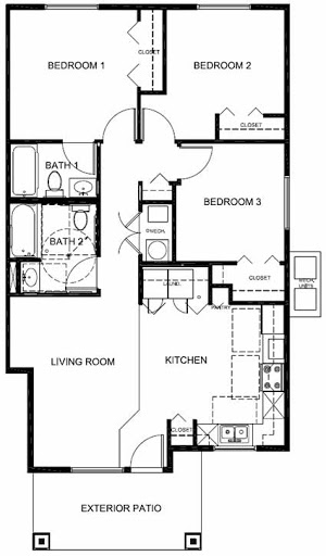 Three Bedroom  Two Bath Floorplan  3 Bed  2 Bath